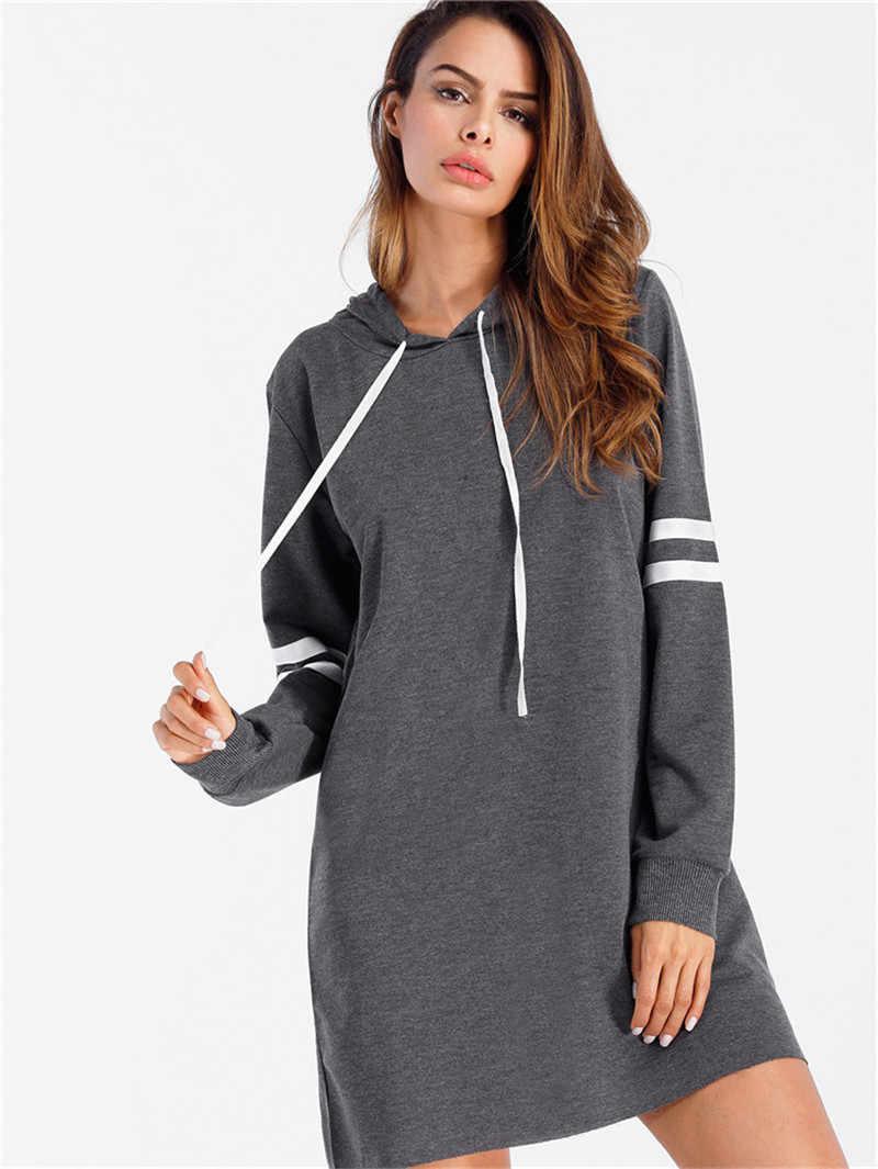 2019 Женская толстовка, спортивная одежда, длинный свитер, пуловер, сексуальное платье для девочек, осенняя Повседневная модная новая одежда с длинными рукавами