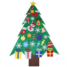 Kids DIY Felt Christmas Tree with Ornaments Children New Year Gifts for Christmas Tree Ornaments Door Wall Hanging Decoration(China)