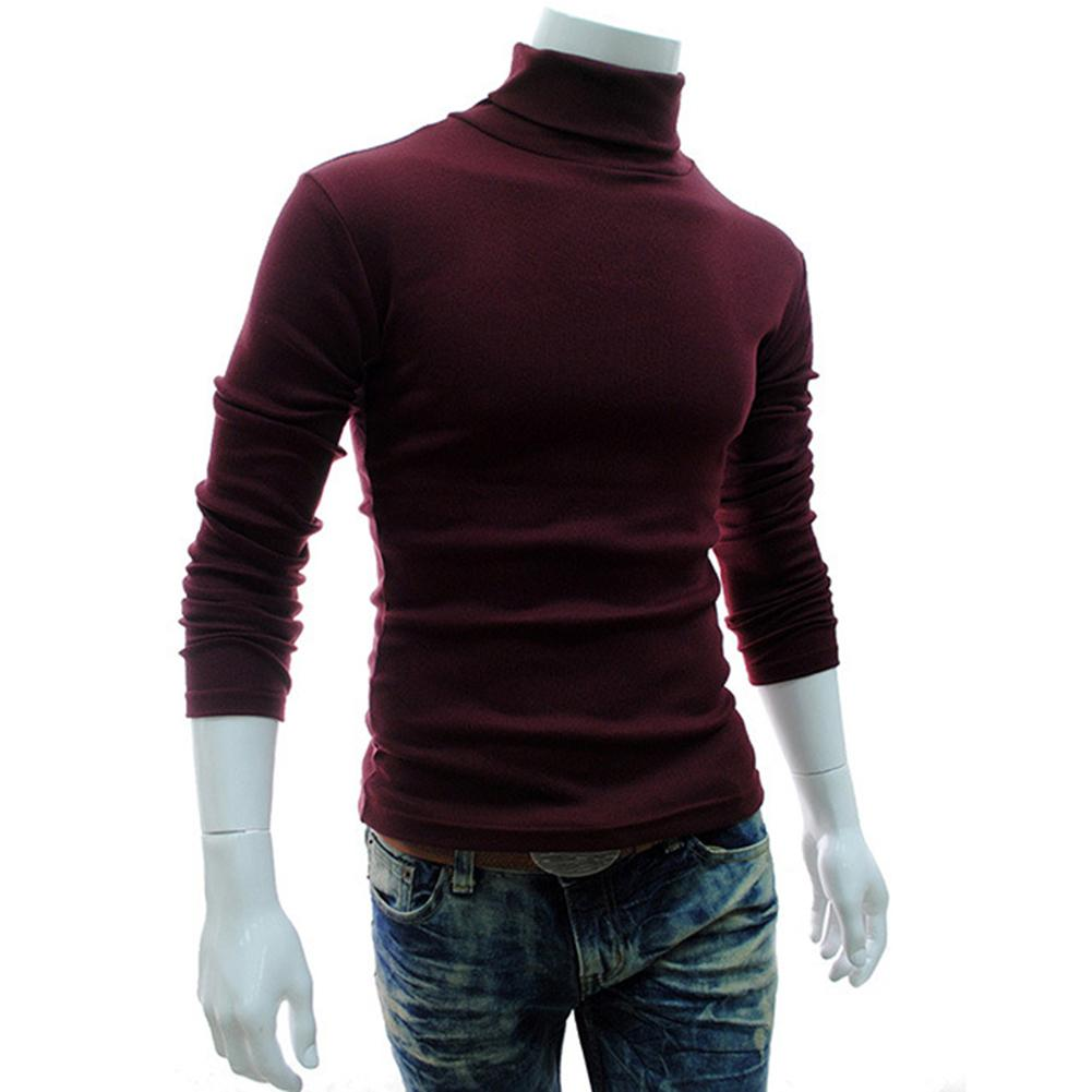Autumn Winter Men Sweater Men Turtleneck Solid Color Casual Sweater Men Slim Knitted Warm Pullovers