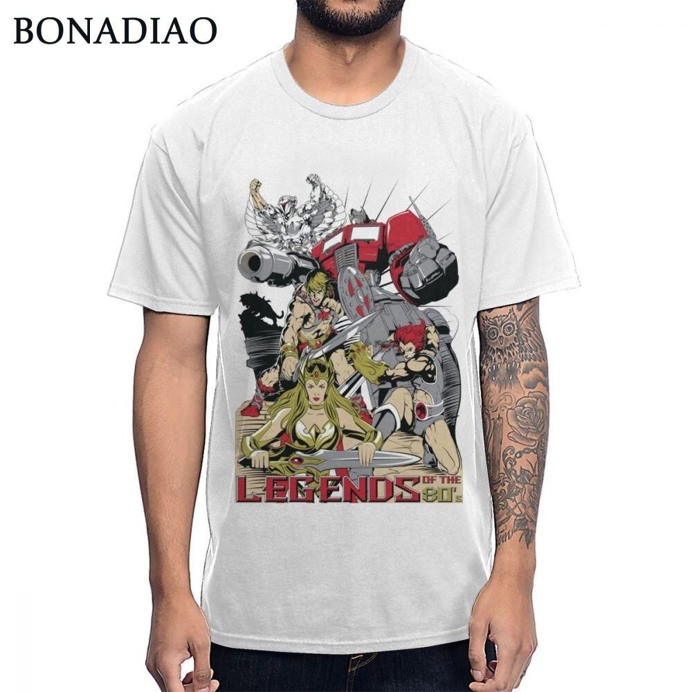Klasik karikatür efsaneleri 80S He-Man Optimus Prime she-ra prenses güç aslan-o T gömlek yumuşak ince erkekler Tee gömlek