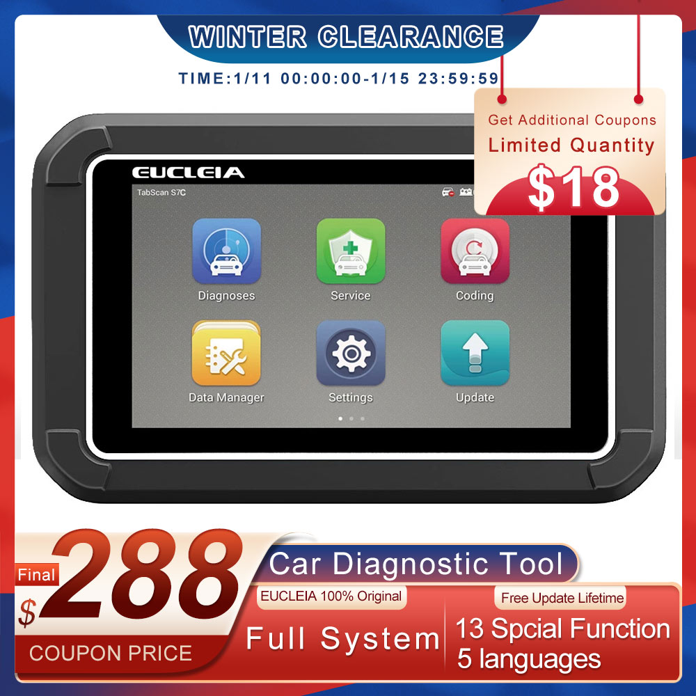 Автомобильный сканер EUCLEIA S7C OBD2, профессиональный считыватель кодов полной системы, EPB DPF ABS, инструмент для диагностики автомобиля OBD 2