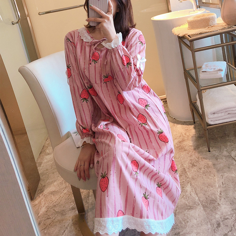 Nightgown Women's Spring And Autumn Long Sleeve Pure Cotton Korean-style Students Cute Strawberry Pajamas Long Outer Wear Prince