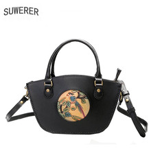 SUWERER genuine leather women hand carved cow leather bag luxury women fashion designer leather handbags famous brand women bag genuine leather diolevy brand handmade carved flower pattern ladies leather handbags