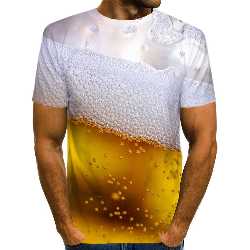 Summer Beer Harajuku New Creative Style 3D T-shirt With Fashionable Short-sleeved Funny Man Hip-Hop Fashion Casual T-shirt S-6XL image