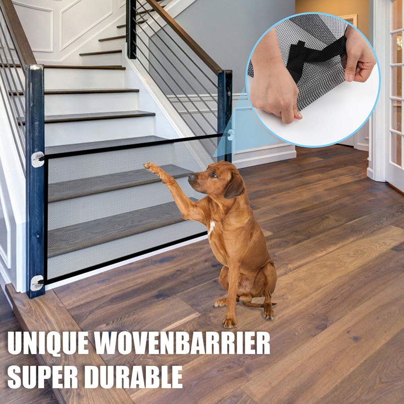 Benepaw Portable Folding Mesh Dog Gate Durable Retractable Pole Isolated Safety Fence Pet Puppy Indoor Outdoor Easy To Install