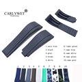 CARLYWET 20 мм черный белый резиновый сменный ремешок для наручных часов ремешок для часов с ремешком для часов с подмариновкой
