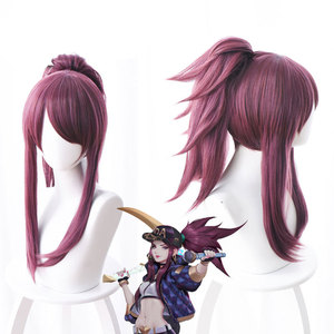 Парики для косплея LOL K/DA Akali, фиолетовый синтетический парик для косплея, карнавальные парики для Хэллоуина, реквизит + шапочка для парика