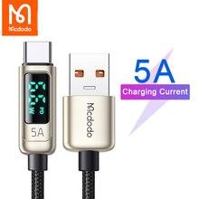 Mcdodo USB סוג C 5A כבל טעינה מהירה עבור Huawei Xiaomi סמסונג כבל עם תצוגה דיגיטלית LED נתונים כבל סופר מטען מהיר