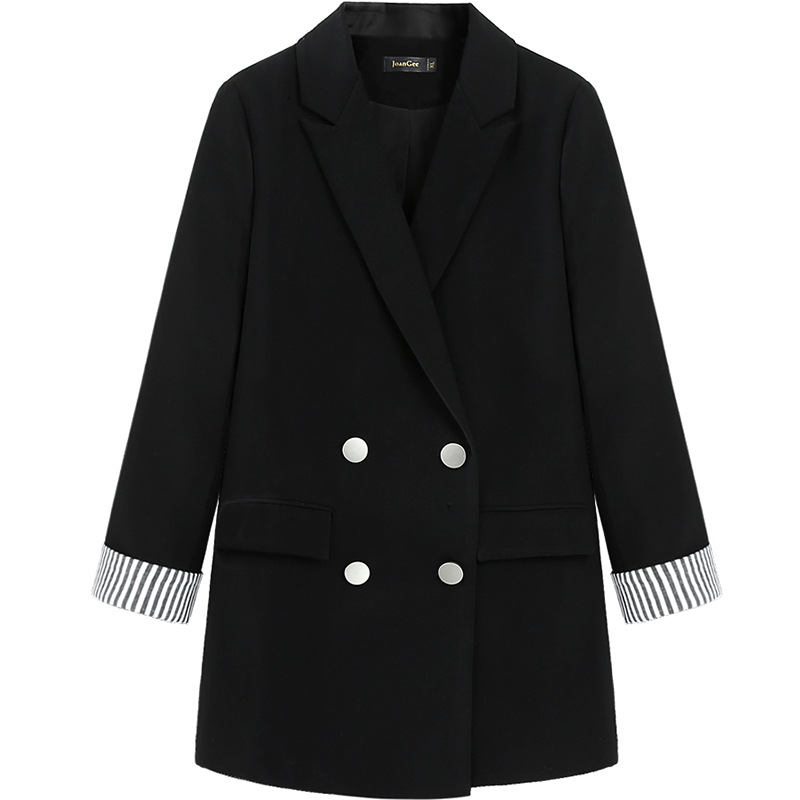 2020 spring and autumn new high quality ladies office blazer Striped long-sleeved casual black jacket feminine Loose small suit