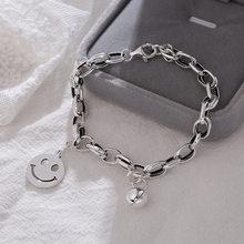 Anenjary-pulsera de plata de ley 925 con cara sonriente para hombre y mujer, brazalete redondo, joyería tailandesa, S-B402