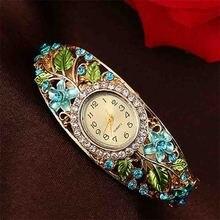 цена на Beauty Flower Bracelet Watch Women Crystal Colored Alloy Flower Bangle Watch Analog Quartz ladies reloj mujer relogio feminino