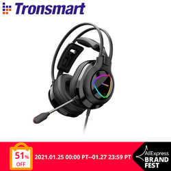 Tronsmart Glary Alpha Gaming Headphones ps4 Headsets Gamer with LED Lighting, 3.5mm+ USB Port for ps4, witch, Computer, Laptop