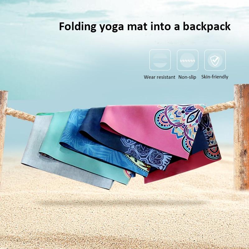 Portable  Yoga Mat Printing Ultra-thin Folding Non-slip Cloth Sweat-absorbent Towel Travel  Pilates  Pad 4