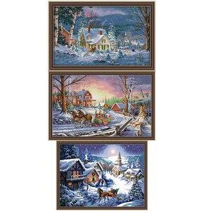 14ct костюм для вышивки крестом зимний Снежный пейзаж DMC ручная вышивка костюм сделай сам Рождественский подарок ткань украшение живопись