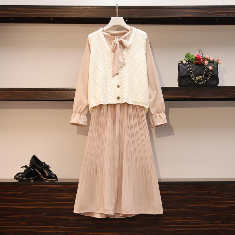 2020 New Girl Style One Piece Suit Dress, Women's Autumn and Winter Show Thin Long Sleeve Pleated Medium Length Shirt Dress 11