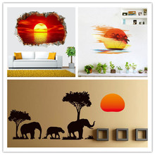 3D Sunset Landscape Elephant Painting Wall Stickers Art Mural Door Stickers Living Room Bedroom Home decor KID'S Room Pattern(China)