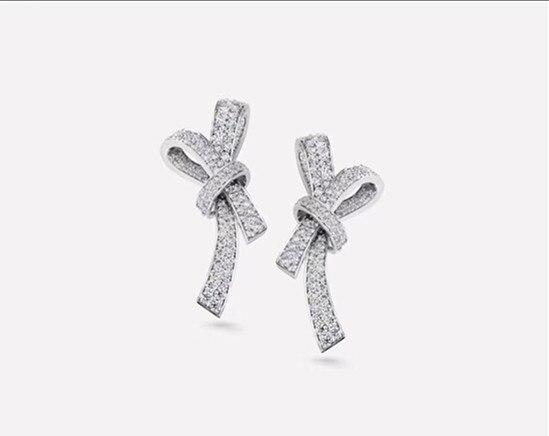 Bijoux de marque de luxe papillon noeud noeud boucles d'oreilles pour les femmes brincos 925 argent sterling 3A cubique zircone bowknot boucle d'oreille