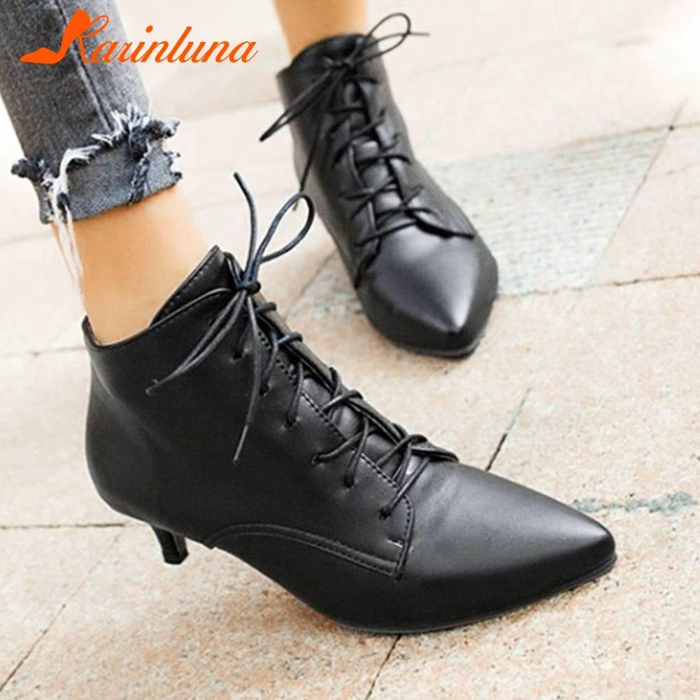 Karinluna/хит продаж, размер плюс 33-46, Прямая поставка, ботильоны с острым носком женская обувь женские ботинки на шнуровке в необычном стиле жен...