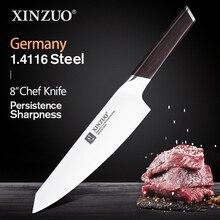 XINZUO 8 เชฟมีดสแตนเลสสตีลเยอรมันใหม่มาถึงButcher CleaverผักSantokuมีดมืออาชีพพร้อมด้ามจับEbony