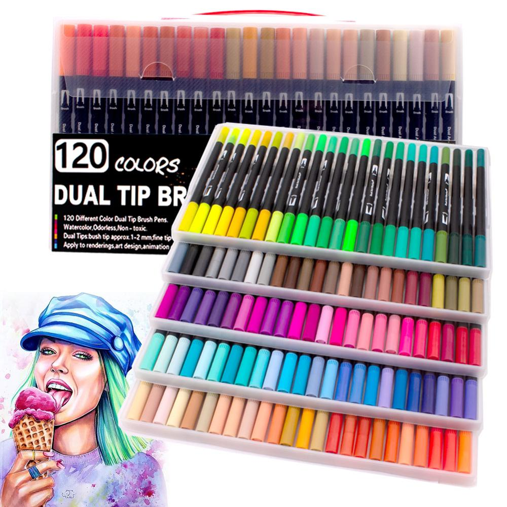 Up To 120 Color Dual Brush Art Markers Pen Fine Tip And Brush Pens Drawing Painting Watercolor Art Marker Pens School Supplies