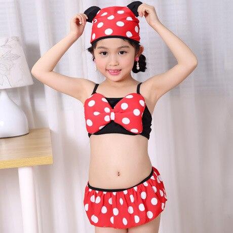 New Style Kids In Small CHILDREN'S Swimwear Cute Polka Dot Hooded Bikini GIRL'S Baby Children Bathing Suit
