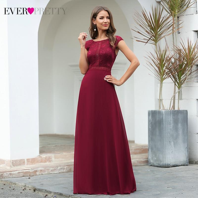 Burgundy Evening Dresses Ever Pretty A-Line O-Neck Cap Sleeve Elegant Floral Lace Evening Party Gowns Abiye Gece Elbisesi 2020
