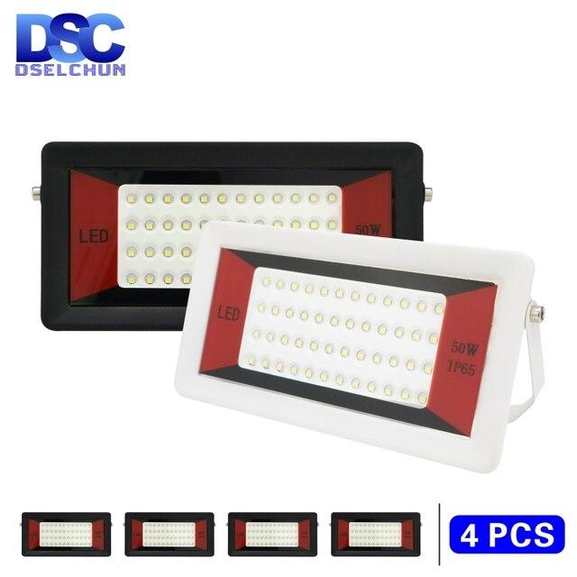 4 pièces Ultra mince projecteur 50W 100W Led projecteur ca 220V projecteur extérieur IP65 LED étanche LED lampadaire éclairage paysager