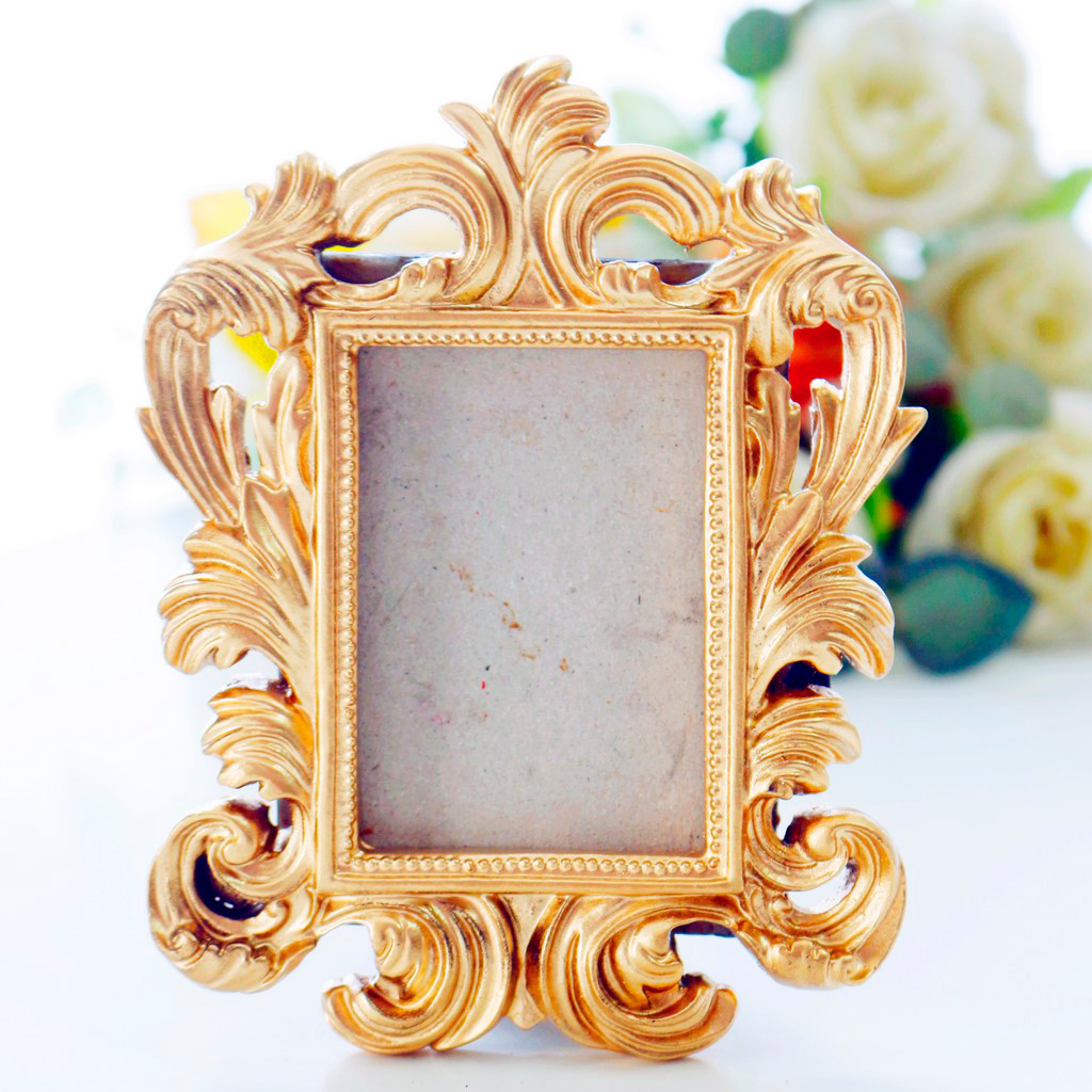 Gold Resin Stand Picture Frame - Vintage Style Photo Frame Wedding Home Decor Party Favor Bridal Anniversary Frame