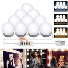 USB 5V Stepless Mirror Light 4 6 10 LED Bulbs Vanity Light Color Temperature Adjustable Hollywood make up lights cheap Dfiolk CN(Origin) Switch LED Makeup Lighting Bulbs 3 Colors Lights 4W 6W 10W