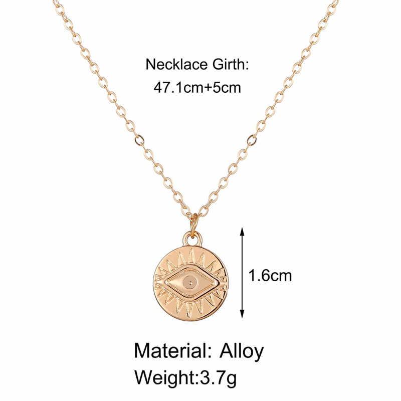 17KM Vintage Gold okrągłe naszyjniki monety naszyjniki dla kobiet dziewczyna długi wisiorek w kształcie monety i naszyjnik 2019 kobieta modna biżuteria na prezent