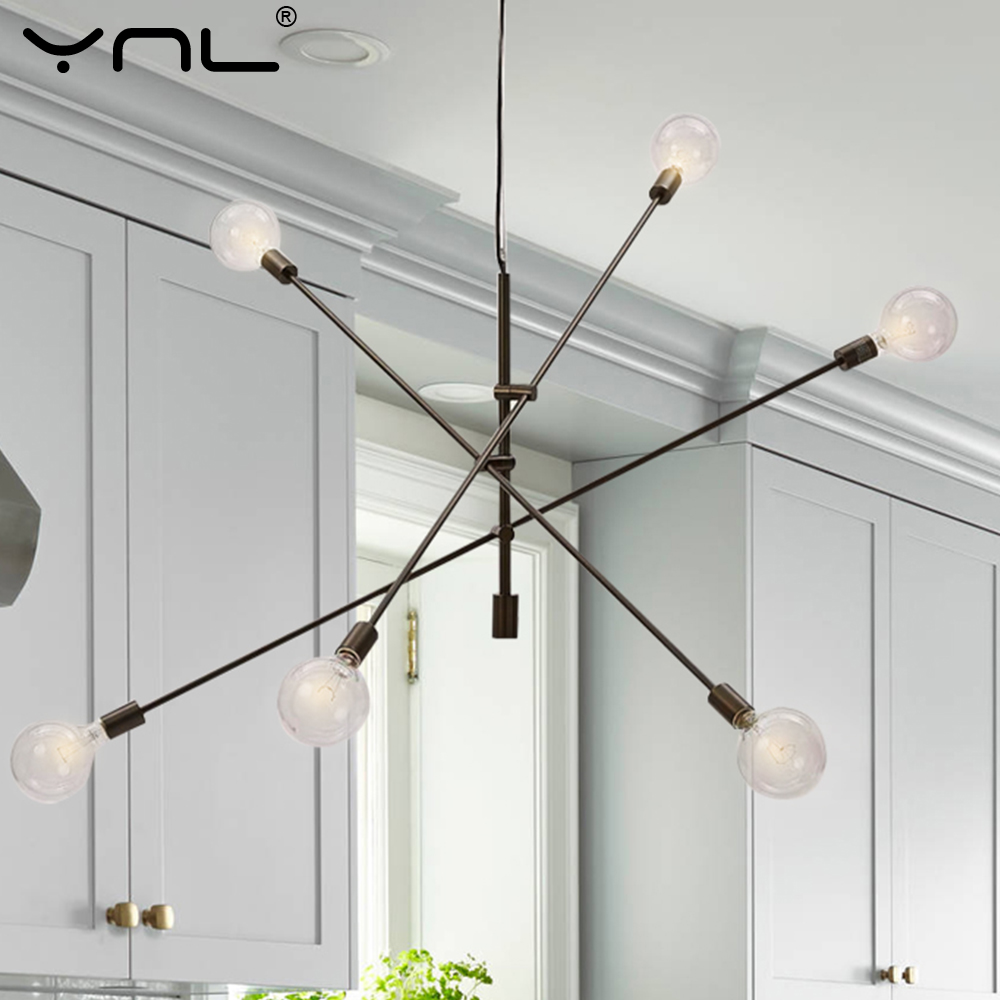 Modern Pendant Lights Hanging Lamp E27 Black Gold Nordic Pendant Lamp Ceiling Bar Living Dining Room Decoration Kitchen Fixtures