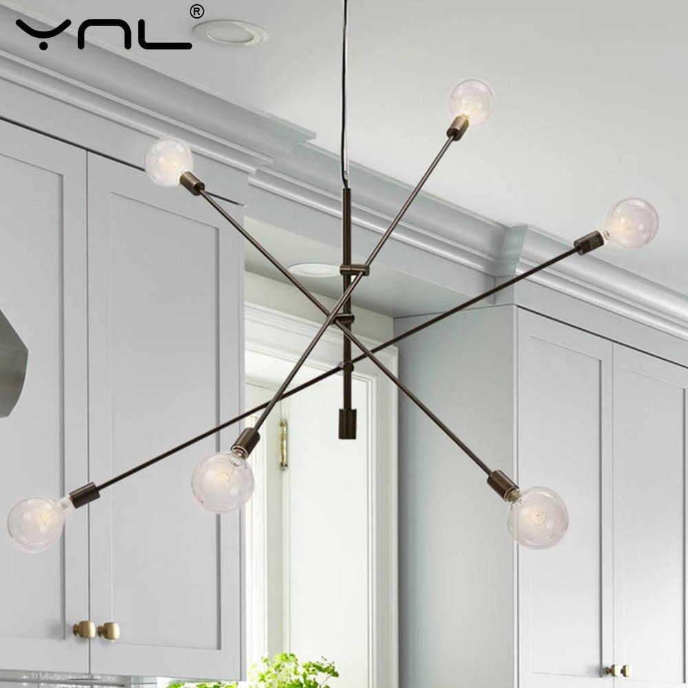 Modern Pendant Lights Hanging Lamp E27 Black Gold Nordic Pendant Lamp Ceiling Bar Living Dining Room Decoration Kitchen Fixtures