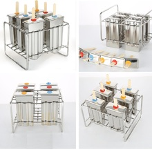 6 Molds Stainless Steel Ice Cream Mold Popsicle Mold DIY Fruit Ice Cream 6 Holes