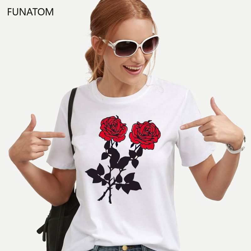 Rose <font><b>Flower</b></font> Print Female <font><b>T</b></font> <font><b>Shirt</b></font> <font><b>Harajuku</b></font> <font><b>T</b></font>-<font><b>Shirts</b></font> <font><b>Women</b></font> <font><b>2019</b></font> New <font><b>Summer</b></font> Short Sleeve Casual Clothing Punk Tee Tops image