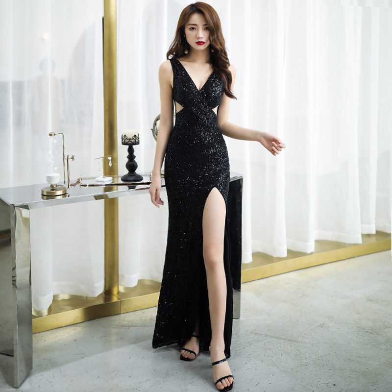 Sexy Black Bling Sequins Evening Prom Gowns Slim High Split Evening Dress Spaghetti Strap Formal Dress Noble Robe De Soiree