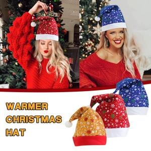 Merry Christmas Adult Christmas Hat Blingling Costume Santa Claus Snowman Elk Children Hat Xmas Gift Navidad Festival New Year
