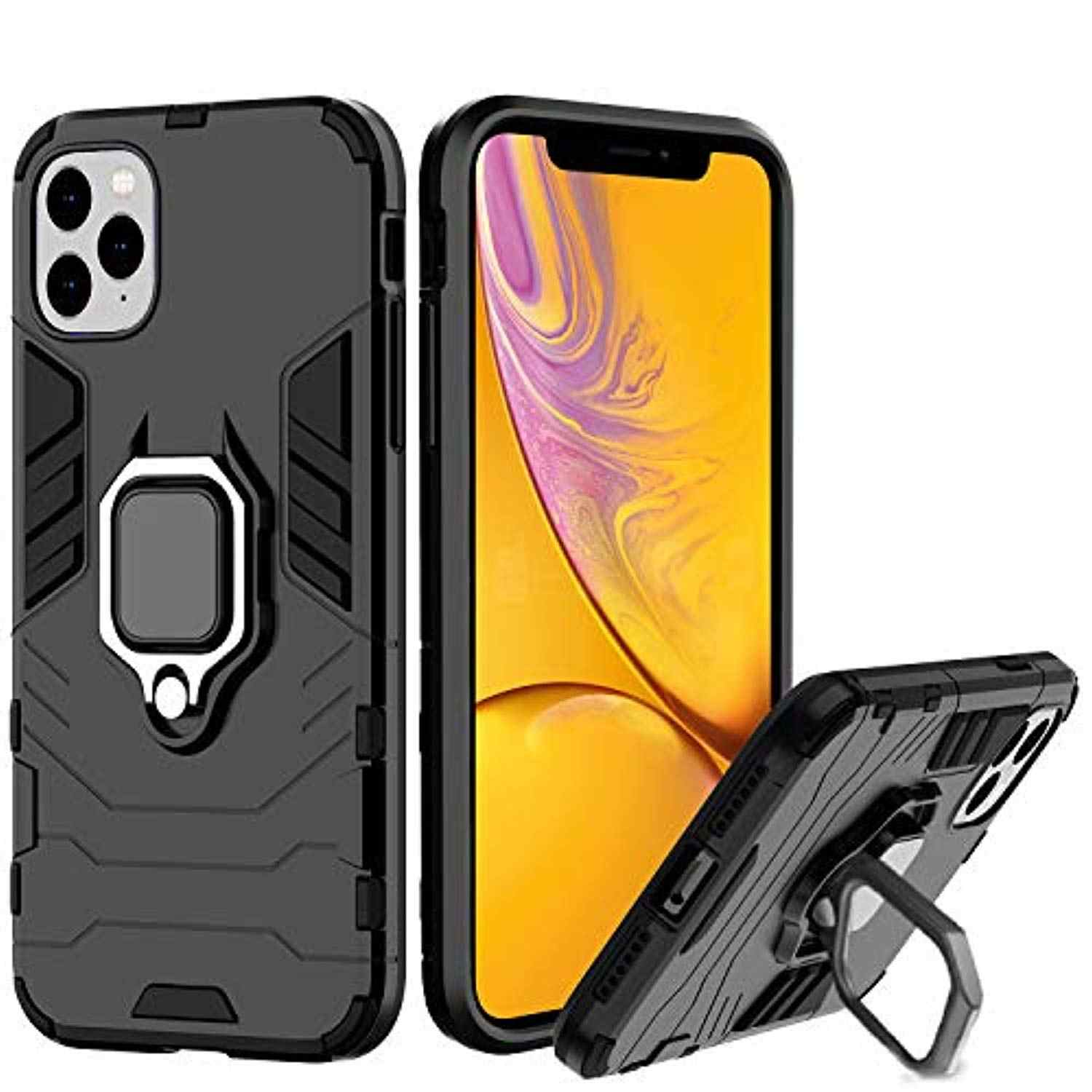 Armor Case for iPhone 11 Pro MAX XR X 6 6s 7 8 Plus Cover 360 Degree Rotating Bracket Magnetic Metal Plate TPU + PC Phone Cases