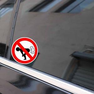 Image 5 - Su geçirmez Hiçbir Osuruk Araba Sticker Komik Eşek PVC Araba çıkartma Uyarı Işareti 12*12cm