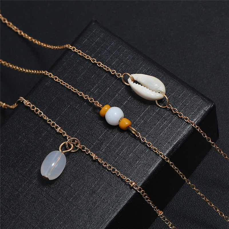 2019 Sea Shell Pendant Anklets For Women Bohemian Natural Stone Bead Shell Anklet Bracelets On Leg Foot Beach Jewelry Wholesale in Anklets from Jewelry Accessories