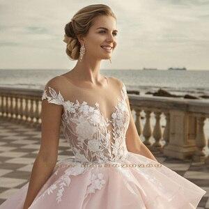 Image 4 - 2020 Prinses Baljurk Trouwjurken Vestido De Noiva Princesa Shiny Kralen Pailletten Applicaties Lace See Through Gown Gelinlik