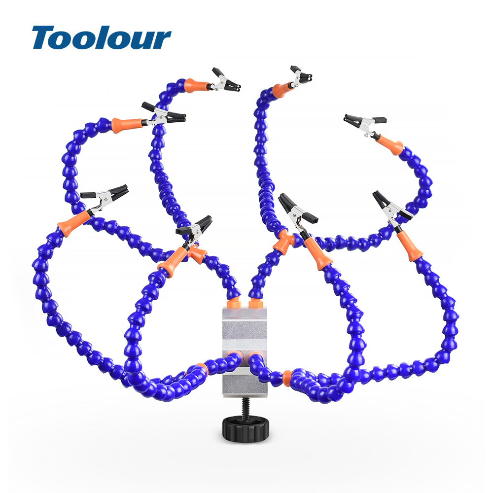 Toolour Multi Soldering Station Helping Third Hand Stand with 8PCS Flexible Arms Desk clamp Holder For PCB Welding Repair Tool