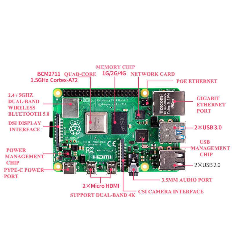Original Raspberry Pi 4 Modell B Kit + Aluminium Fall + Kühlkörper + 3A Schalter Power + Micro HDMI option 64 32GB SD Karte   Reader
