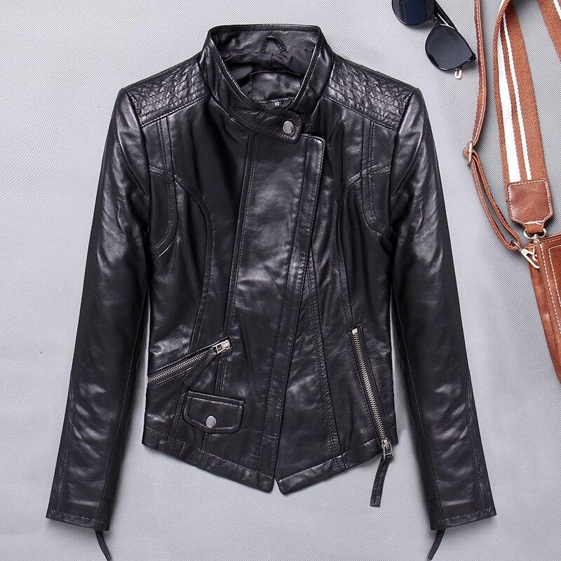 2019 outono jaqueta de couro genuíno das mulheres 100% casaco de pele carneiro fino ajuste motociclista jaqueta outono jaquetas de couro real 1715