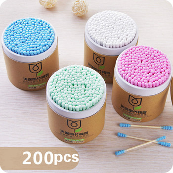 100/200pcs/Box Bamboo Baby Cotton Swab Wood Sticks Soft Cotton Buds Cleaning Of Ears Tampons Cotonete Pampons Health Beauty