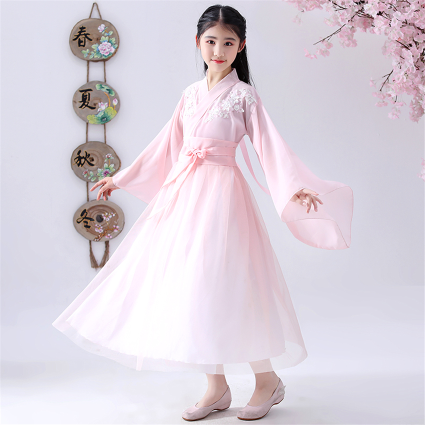 Chinese Traditional Clothing Girls Dance Hanfu Pink Flower Fairy Photography Costumes Oriental Ancient Tang Dynasty Dress