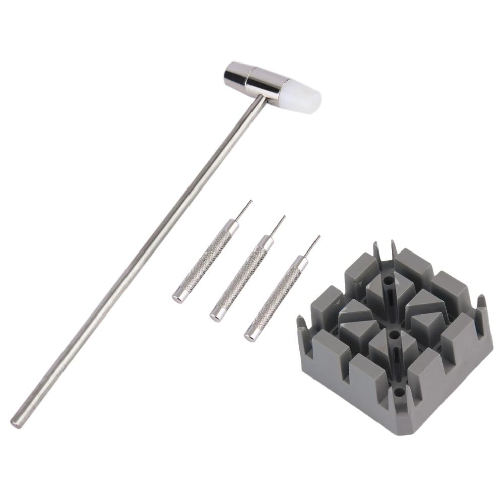 Juego de herramientas de reparación de reloj 5pcs / Set Martillo 3 pasadores de sacapuntas 0.8mm / 0.9mm / 1mm Barra de enlace de la banda Extractor de la correa Soporte de la correa Conjunto de ajuste de la banda del reloj