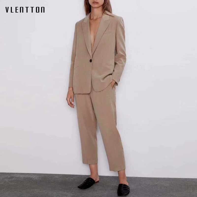 2019 Autumn Business Pants Suit Vintage Solid Single Button Blazer Coat Feminino Trouser Female Office 2 Pieces Set Women Mujer
