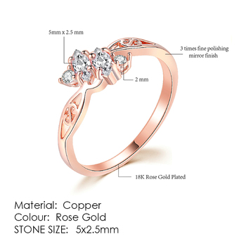 ZHOUYANG Ring For Women Simple Style Cubic Zirconia Wedding Ring Light Gold Color Fashion Jewelry KBR103 12