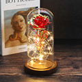 Eternal Rose Forever Beauty And Beast Rose In Flask Led Rose Flower Light Glass Dome Home Decoration Mother's wedding Valentine