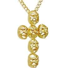 Mask Life Cross Pendant Necklace NK Stainless Steel Long  gold Fashion Accessories Hip Hop Jewelry